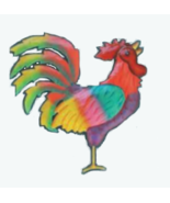 Yellow Tail Rooster Metal Wall Art - Hand Painted - $38.92