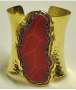 Red Coral Gold Cuff Bracelet - $17.00