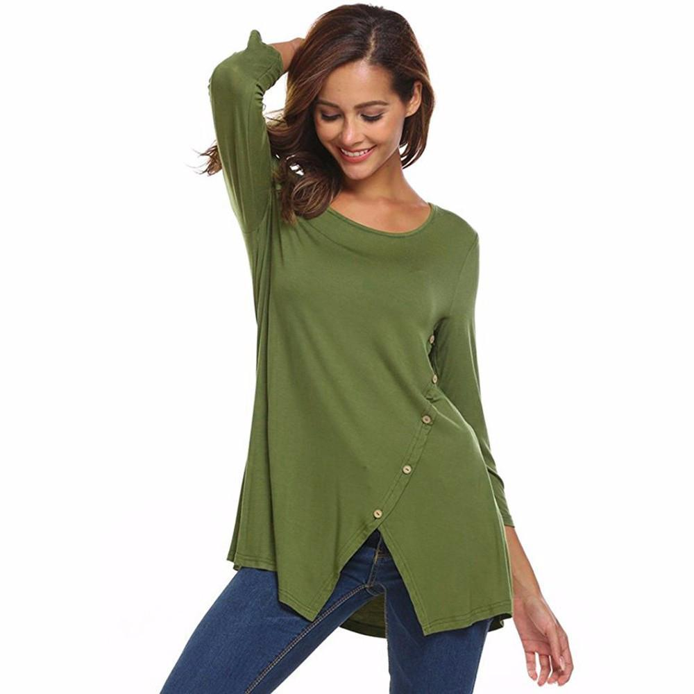 Primary image for Women's Solid Split Hemline Casual T-Shirt Blouse Tunic Tops With Buttons