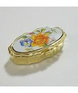 Vtg mini sewing kit miniature brass box pill box style mending kit hinge... - $19.85