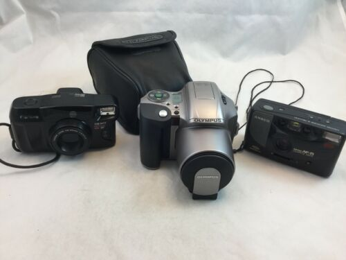 Lot Of 3 35mm Film Cameras - Olympus 4x Zoom, Canon Sure Shot, Ansco AF/R