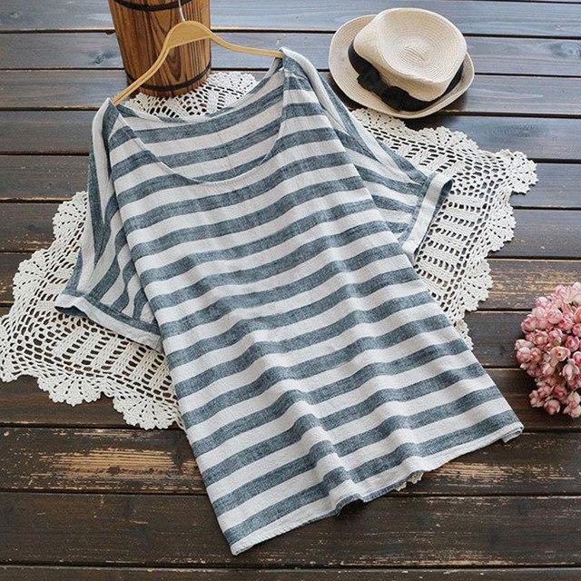 2018 ZANZEA Summer Women O Neck Short Sleeve Loose Striped Blouse Cotton Linen C