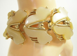 WIDE Beige MOONGLOW Thermoset Cuff Bracelet Tan Latte Gold Plate Vintage... - $22.76
