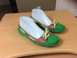 Kelly & Katie sz 7 Moccasin style Flats Green Canvas - $6.79