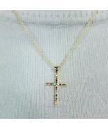 N0140 Dainty Gold Tone Chain Cubic Zirconia CZ Mini Cross Shape Pendant ... - $9.99