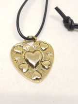 Gold tone heart on a black leather cord vintage with heart imprint penda... - $11.39