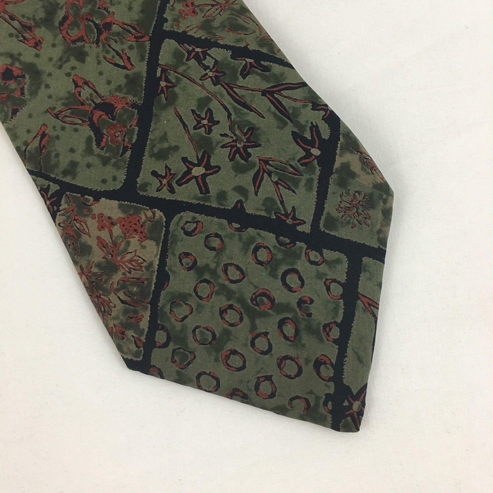 Geoffrey Beene Silk Tie Green Brown Floral 4 Inch Wide image 2