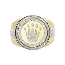 14kt Gold Plated Moissanite Diamond King Crown Ring Men's,Hip-Hop Men's ... - £218.08 GBP