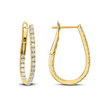 1.00 Ct Round Cut D/VVS1 Diamond Hoop Earring  Set In 14K Yellow Gold Fn - $90.59