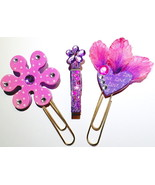 Heart And Flowers Bookmarks, Clothespin Clip Organizer, Paperclip Bookma... - $4.00