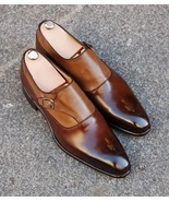Men's Handmade Brown Shoes, Men's Leather Stylish Buckle Up Shoes - $144.99+