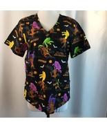 Scooby Doo Halloween Zoinks Scrubs Uniform Phantoms Ghosts Bats M - $31.68