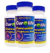3PK.CurQLife® Organic Curcumin (Tumeric) for Joint Health by Earth's Cre... - $74.20