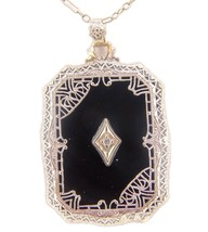 10k Gold Filigree Art Deco Genuine Natural Onyx and Diamond Pendant (#J4... - $522.50