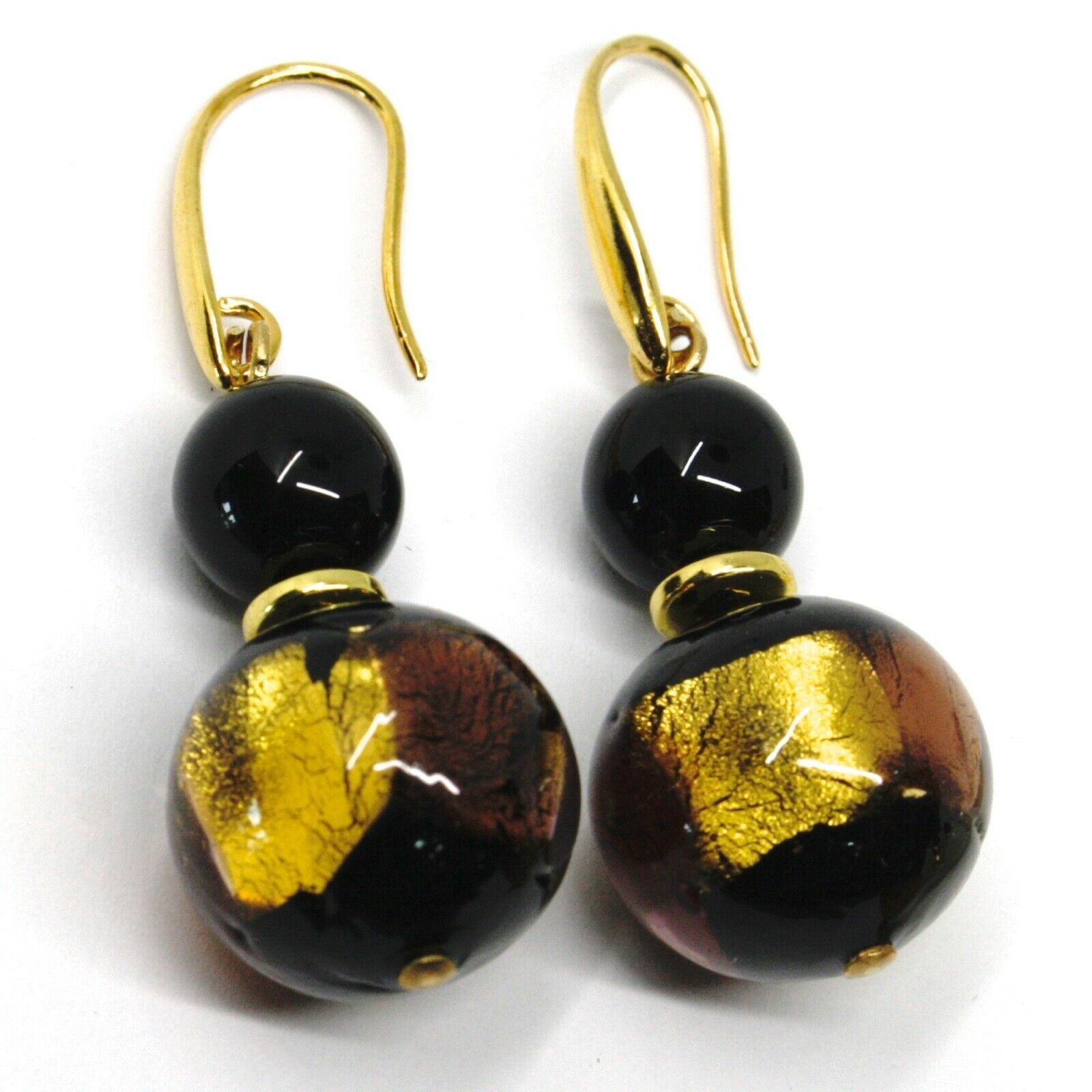 PENDANT EARRINGS BLACK MURANO GLASS SPHERE & GOLD LEAF, MADE IN ITALY