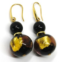 PENDANT EARRINGS BLACK MURANO GLASS SPHERE & GOLD LEAF, MADE IN ITALY image 1