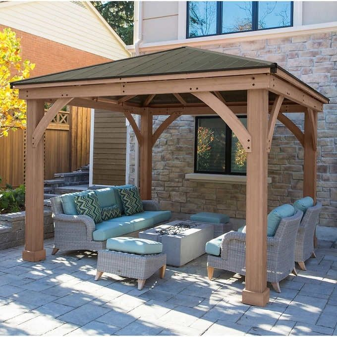 12 X 12 Wood Gazebo Heavy Duty Outdoor Metal Roof For