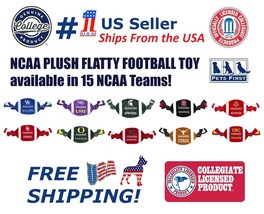 NCAA Plush and Crinkle Flatty Football Pet Toy - Licensed Heavy duty dur... - $10.49