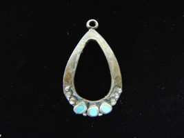 Lovely Vintage Estate Sterling Silver Southwest Turquoise Pendant 4.7g E2115 - $19.99