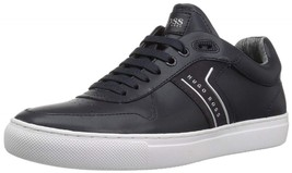 NEW HUGO BOSS GREEN LABEL NAVY BLUE LEATHER ENLIGHT TENNIS SNEAKERS SIZE... - $128.69