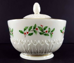 """LENOX China Holiday Dimension Sculptured Candy Jar with Lid 3-3/8"""" Dinnerware image 2"""