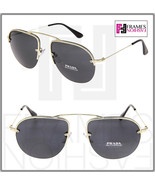 PRADA TEDDY PR58OS Aviator Pale Gold Black Metal Rimless Sunglasses 58O ... - $254.43