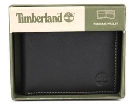 Timberland Men's Premium Genuine Leather Passcase Wallet Black D10218/08