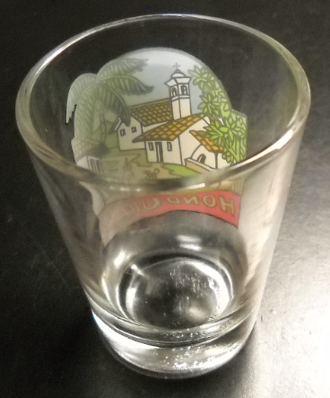 Honduras Shot Glass Colorful Town and Church Scene on Clear Glass