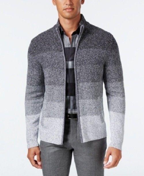 Alfani Men's Ombre Striped Sweater Jacket Grey XL