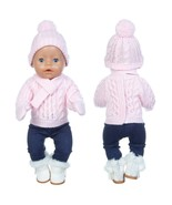 Sweater+Hat+Scarf+Gloves Doll Clothes Fit For born baby 43cm Doll Clothe... - $16.33