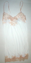 NWT New Designer Natori Night Gown Chemise XS White Peach Lace Silky Adj... - $117.00