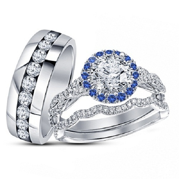 925 Silver 14K White Gold Plated White & Blue Diamond Engagement Ring Trio Set