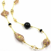LONG 90cm NECKLACE PINK & YELLOW STRIPED MURANO GLASS SPHERE NUGGET, GOLD LEAF image 2