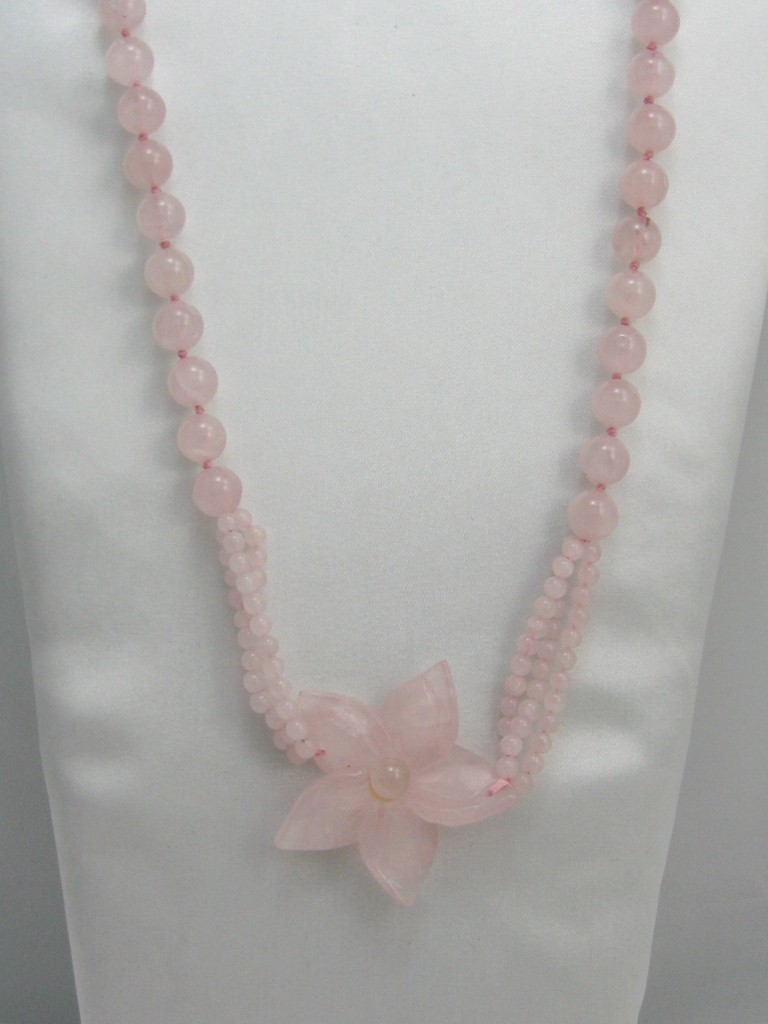 """Gemstone ICY PINK Rose Quartz 10mm beads knotted flower pendan LONG NECKLACE 30"""""""