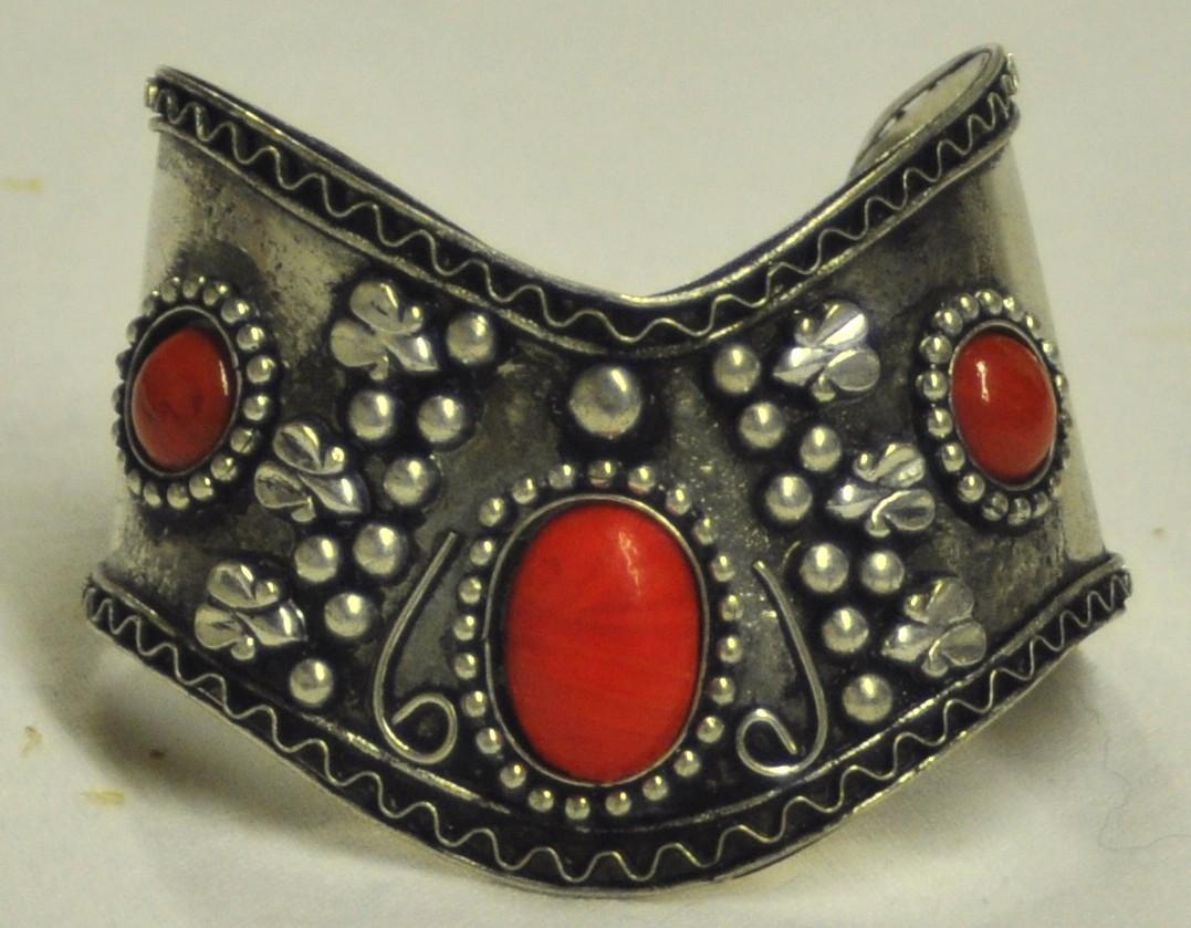 Red silver cuff bracelet