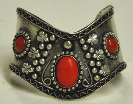Red silver cuff bracelet thumb200