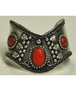 Red V Shaped Bracelet with Cabochon - $12.00