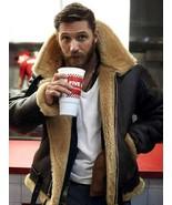 Tom Hardy Dunkirk Shearing leather jacket Coat for men bane aviator Fur ... - £94.00 GBP