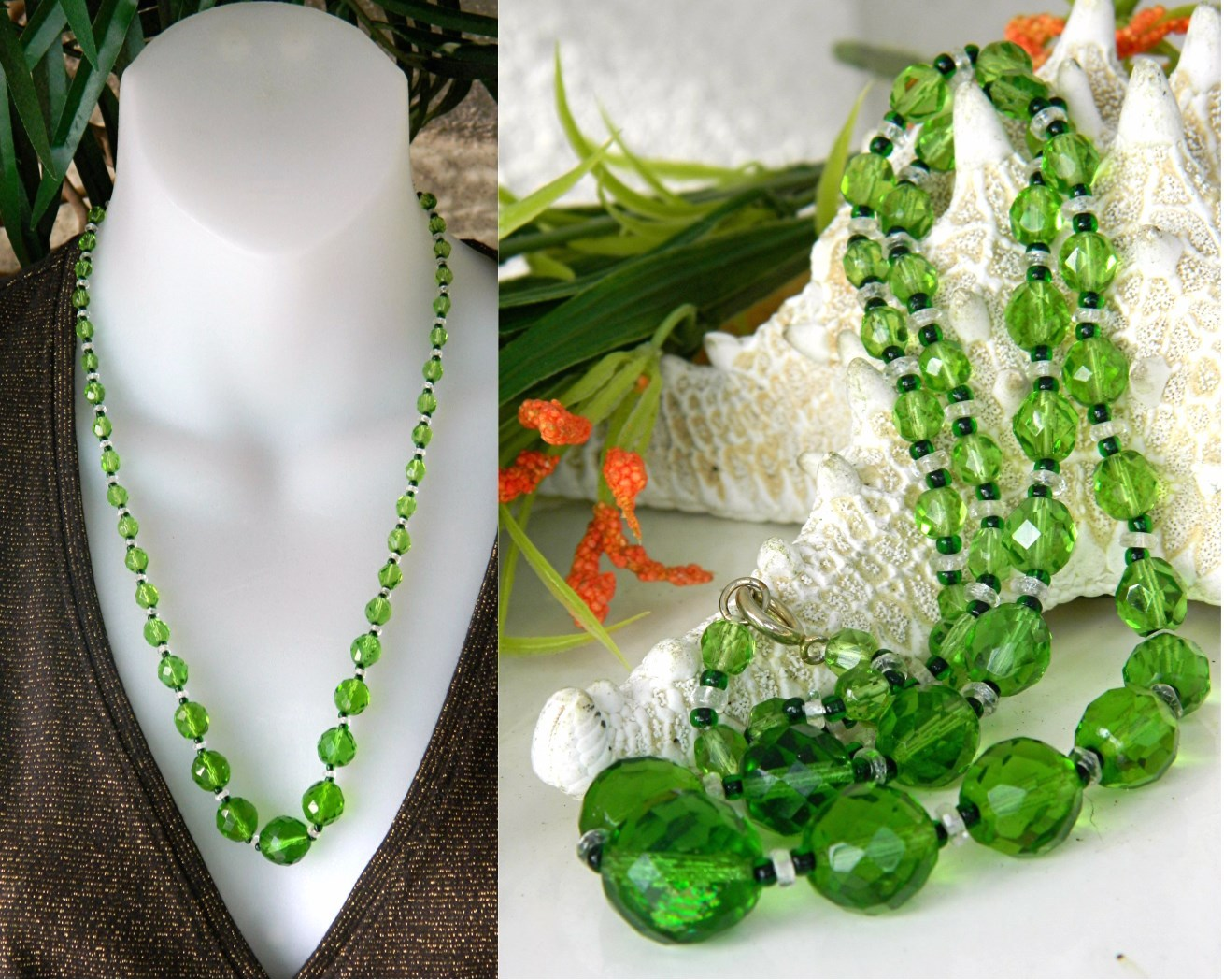 Vintage czech glass faceted bead necklace green graduated