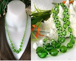 Vintage czech glass faceted bead necklace green graduated thumb155 crop