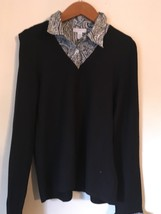 Charter Club black blouse with b&w printed collars, cuffs. Misses Size L... - $8.99