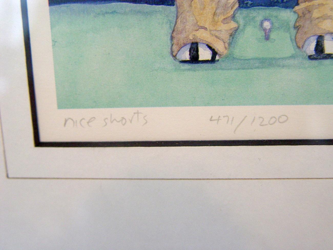 "Signed, Numbered J Heath Golf Print ""Nice Shorts"" Framed"