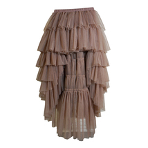 High Low Tulle Skirt Long Layered Tutu Skirt Outfit Plus Size  Brown Tulle Skirt image 3