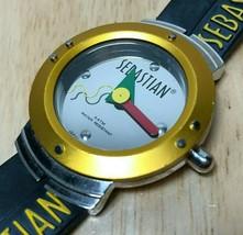 Vintage Sebastian Men 30m Mirror Dial Yellow Analog Quartz Watch Hour~Ne... - $26.59