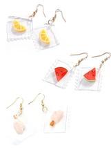 3Pcs Women's Hoop Earrings Set Cute Fruit Design Transparent Earrings Fashion Ac - $13.99
