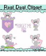 Forget Me Not Mice Clip Art - $1.25