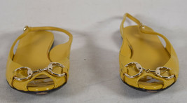 Gucci Womens Patent Leather Slingback Yellow Flat Sandals 5 1/2 B Italy - $178.20
