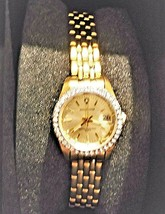 Vintage Quartz Waltham Wrist Watch WK038 Gold Tone with Rhinestones - CLASSY! - $14.00