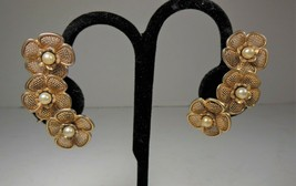 Gold Tone & Simulated Pearl Floral Clip on Earrings - $7.92