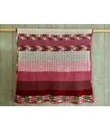 "Vintage Crochet Knit Blanket Afghan Pinks White Green Hand Made 60"" x 75"" - $22.20"